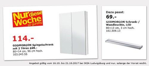 IKEA GODMORGOM Spiegelschrank, 80x14 cm, 96 cm hoch - jetzt 50% billiger