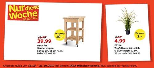 IKEA BEKVÄN Servierwagen, 50x58 cm, 85 cm hoch, Birke - jetzt 20% billiger