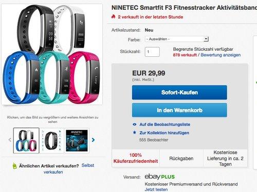 NINETEC Smartfit F3 Fitnesstracker - jetzt 36% billiger