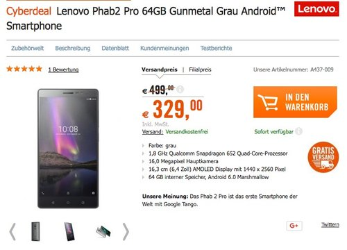 Lenovo Phab2 Pro 64GB Smartphone - jetzt 21% billiger