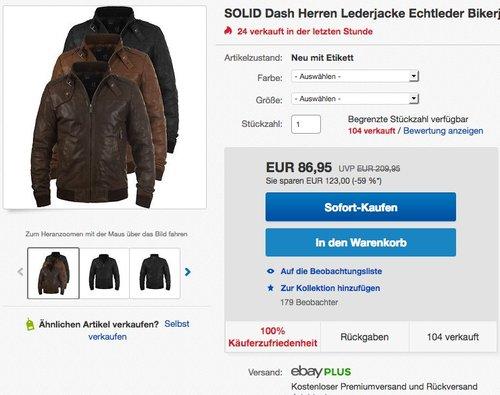 SOLID Dash Herren Lederjacke - jetzt 30% billiger