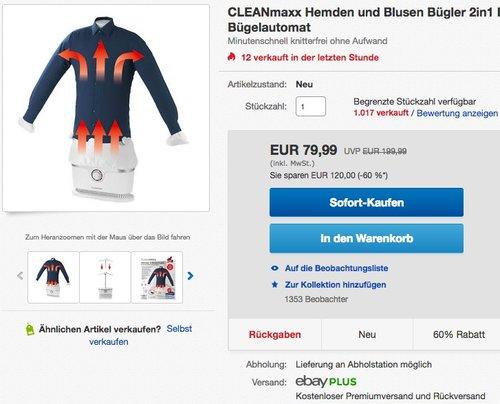 CLEANmaxx Hemden und Blusen Bügler - jetzt 20% billiger