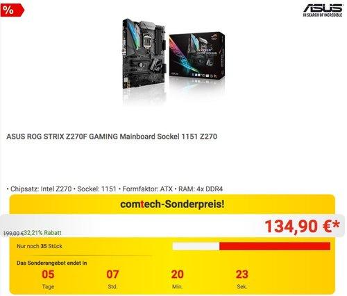 ASUS ROG STRIX Z270F GAMING Mainboard Sockel 1151 Z270 - jetzt 15% billiger