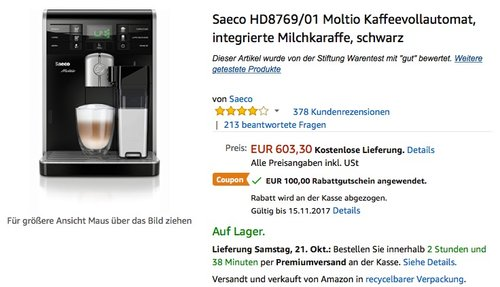 Saeco HD8769/01 Moltio Kaffeevollautomat, integrierte Milchkaraffe - jetzt 5% billiger