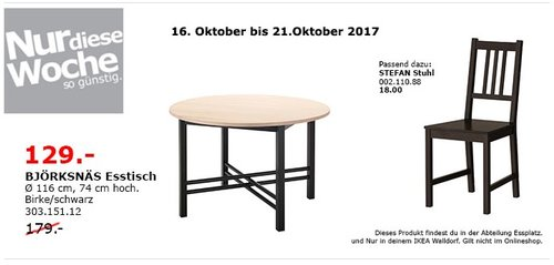 IKEA BJÖRKSNÄS Esstisch - jetzt 28% billiger