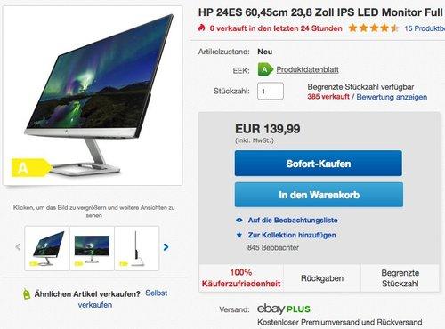 HP 24ES 60,45cm 23,8 Zoll IPS LED Monitor - jetzt 17% billiger