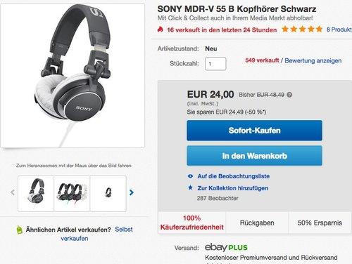 SONY MDR-V 55 B Kopfhörer Schwarz - jetzt 51% billiger