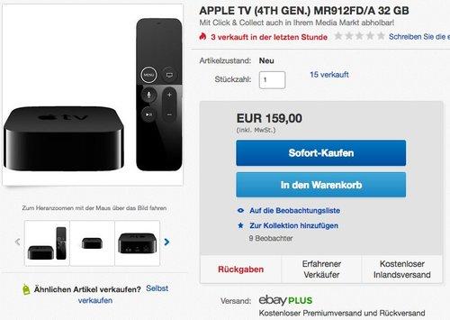 Apple TV 4. Generation 32GB - jetzt 13% billiger
