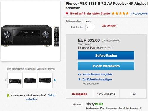 Pioneer VSX-1131-B 7.2 AV-Receiver - jetzt 37% billiger