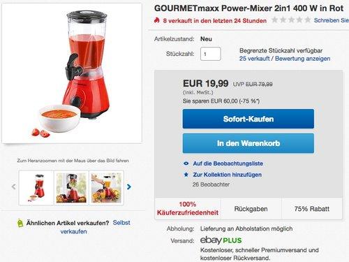 GOURMETmaxx 00762 Power-Mixer 2 in 1, 400 W - jetzt 32% billiger