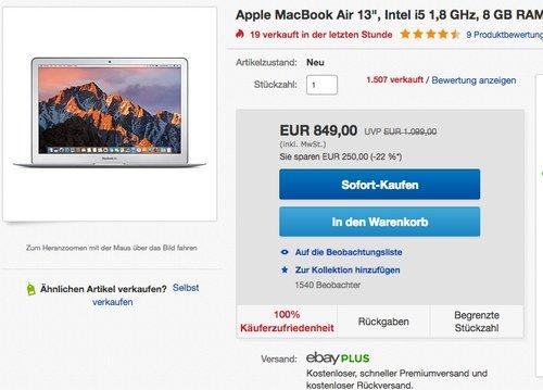 """Apple MacBook Air 13"""", 8 GB RAM, 128 GB SSD, Intel i5 1,8 GHz, 2017 - jetzt 15% billiger"""