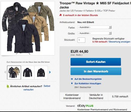 Trooper M65 Feldjacke - jetzt 24% billiger