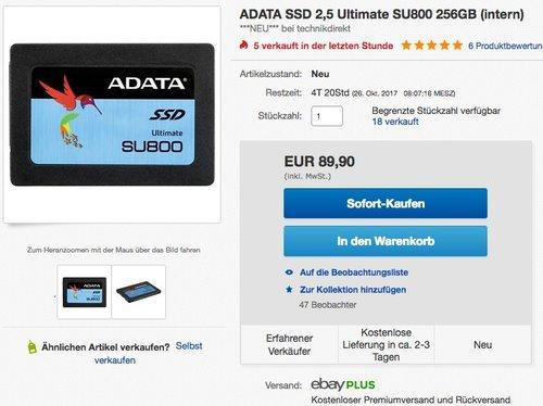 ADATA SSD 2,5 Ultimate SU800 256GB - jetzt 15% billiger