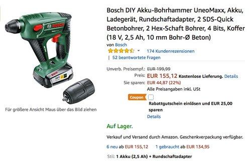 Bosch DIY Akku-Bohrhammer UneoMaxx, Akku, Ladegerät, Rundschaftadapter, 2 SDS-Quick Betonbohrer, 2 Hex-Schaft Bohrer, 4 Bits, Koffer  - jetzt 28% billiger