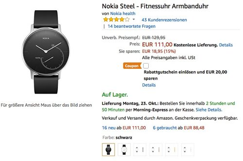 Nokia Steel - Fitnessuhr Armbanduhr - jetzt 18% billiger