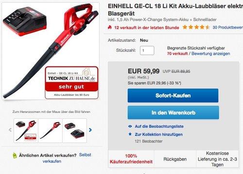 Einhell GE-CL 18 Li Kit Akku-Laubbläser - jetzt 18% billiger