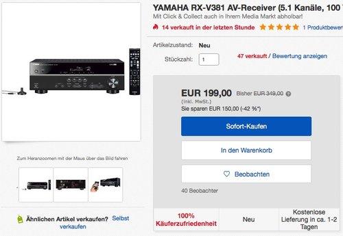 Yamaha RX-V381 AV-Receiver mit Bluetooth  - jetzt 29% billiger