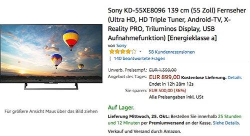 Sony KD-55XE8096 139 cm (55 Zoll) Fernseher  - jetzt 12% billiger