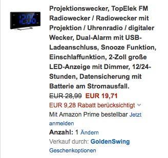 Projektionswecker, TopElek FM Radiowecker - jetzt 45% billiger