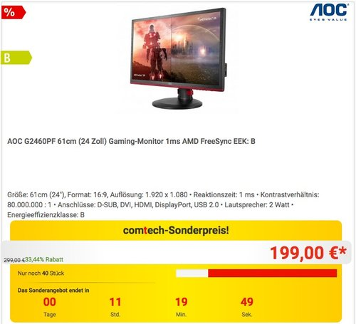 AOC G2460PF 61cm (24 Zoll) Gaming-Monitor 1ms AMD FreeSync  - jetzt 11% billiger