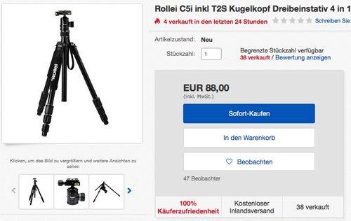 Rollei C5i inkl T2S Kugelkopf Dreibeinstativ 4 in 1  - jetzt 27% billiger