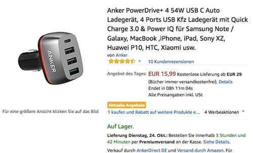 Anker PowerDrive+ 4 54W USB C Auto Ladegerät - jetzt 26% billiger