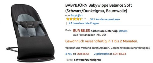 BABYBJÖRN Babywippe Balance Soft  - jetzt 15% billiger