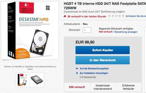 HGST 4 TB Interne HDD 24/7 NAS Festplatte - jetzt 18% billiger