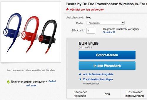 Beats by Dr. Dre Powerbeats2 Wireless In-Ear Ohrhörer - jetzt 31% billiger