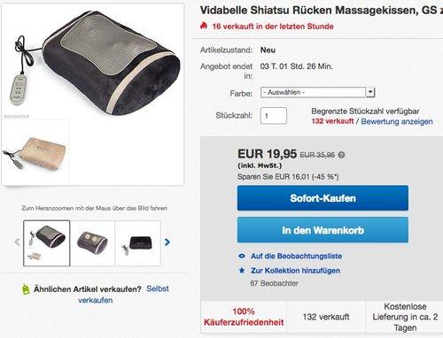 Vidabelle Shiatsu Rücken Massagekissen - jetzt 20% billiger