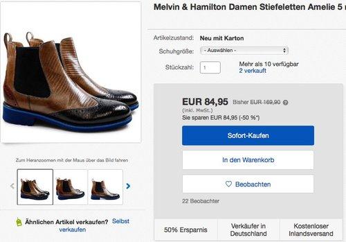 Melvin & Hamilton Damen Stiefeletten Amelie 5 mehrfarbig Leder - jetzt 26% billiger