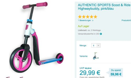 AUTHENTIC SPORTS Scoot & Ride Highwaybuddy - jetzt 57% billiger