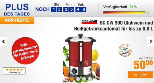 Efbe-Schott SC GW 900 Glühwein und Heißgetränkeautomat für bis zu 6,8 L - jetzt 14% billiger