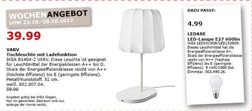 IKEA VARV Tischleuchte mit Ladefunktion - jetzt 34% billiger