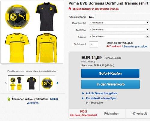 Puma BVB Borussia Dortmund Trainingsshirt - jetzt 27% billiger