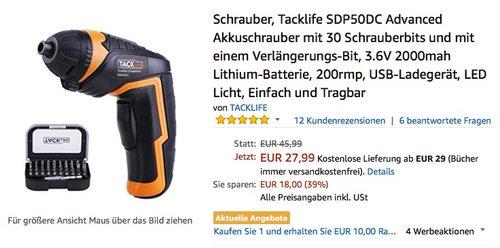 Tacklife SDP50DC Advanced Akkuschrauber - jetzt 36% billiger