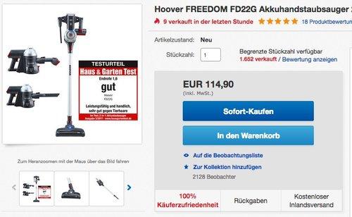Hoover FD 22G Freedom 2-in-1 Akku-Stabstaubsauger - jetzt 19% billiger