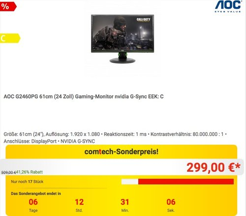 AOC G2460PG 61 cm (24 Zoll) Gaming Monitor nvidia G-Sync - jetzt 16% billiger