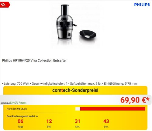 Philips HR1864/20 Viva Collection Entsafter - jetzt 22% billiger
