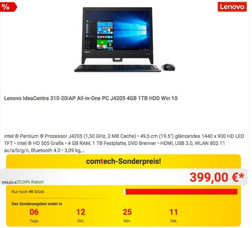 Lenovo IdeaCentre 310-20IAP All-in-One PC J4205 4GB 1TB HDD Win 10 - jetzt 11% billiger