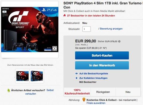 SONY PlayStation 4 Slim 1TB inkl. Gran Turismo Sport + Controller - jetzt 8% billiger