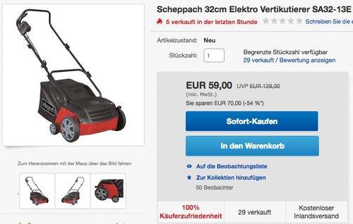 Scheppach Elektro-Vertikutierer SA32-13E, 32 cm - jetzt 31% billiger
