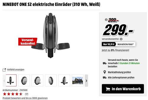 Ninebot One S2 – Einrad Elektro - jetzt 25% billiger