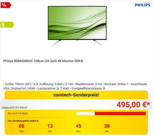 Philips BDM4350UC 108cm (43 Zoll) 4K Monitor - jetzt 13% billiger