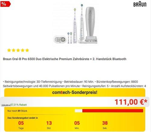 Braun Oral-B Pro 6500 Elektrische Zahnbürste + 2. Handstück Bluetooth - jetzt 11% billiger