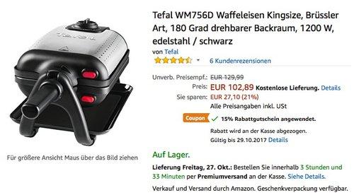 Tefal WM756D Waffeleisen Kingsize, Brüssler Art - jetzt 12% billiger