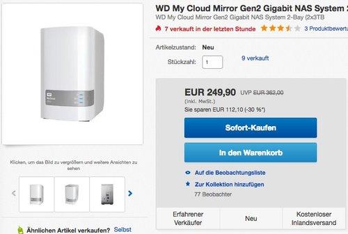 Western Digital My Cloud Mirror Gen 2  6TB - jetzt 12% billiger
