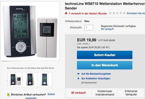TechnoLine WS-6710 Wetterstation - jetzt 31% billiger