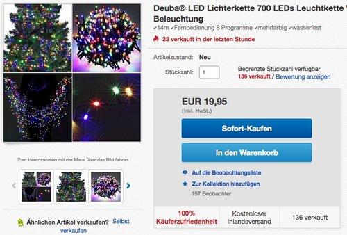 Deuba LED Lichterkette 700 LEDs Leuchtkette - jetzt 13% billiger