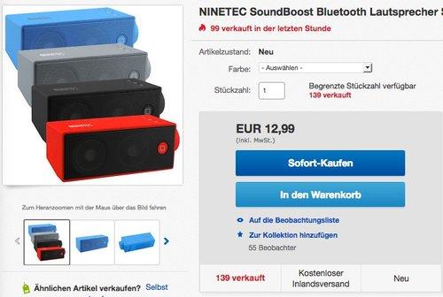 NINETEC SoundBoost Bluetooth Lautsprecher - jetzt 35% billiger